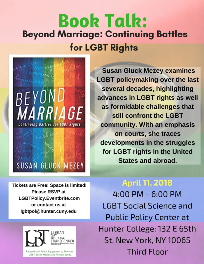 Book Talk: Beyond Marriage: Continuing Battles for LGBT Rights